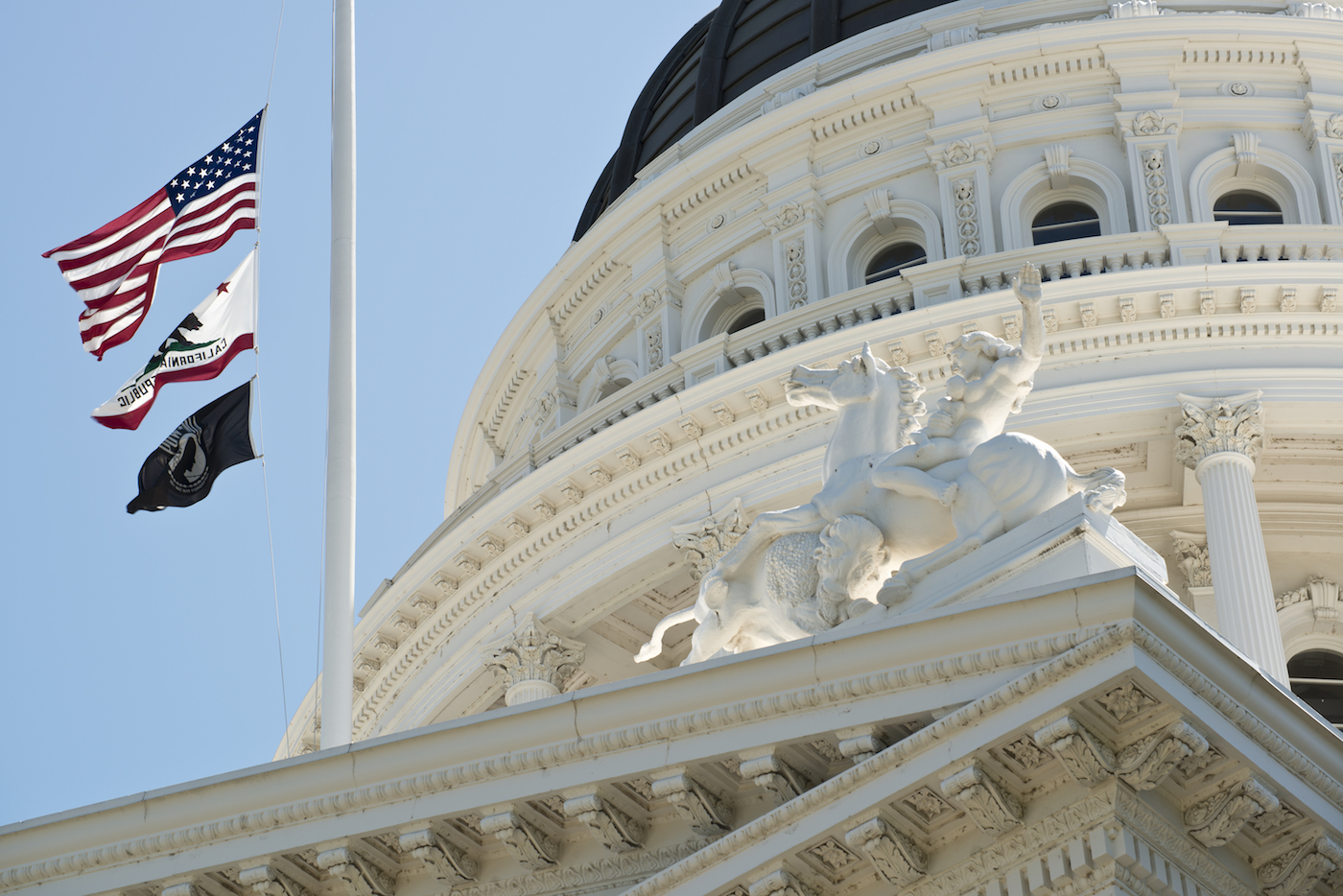 California Capital dome with Flags in front