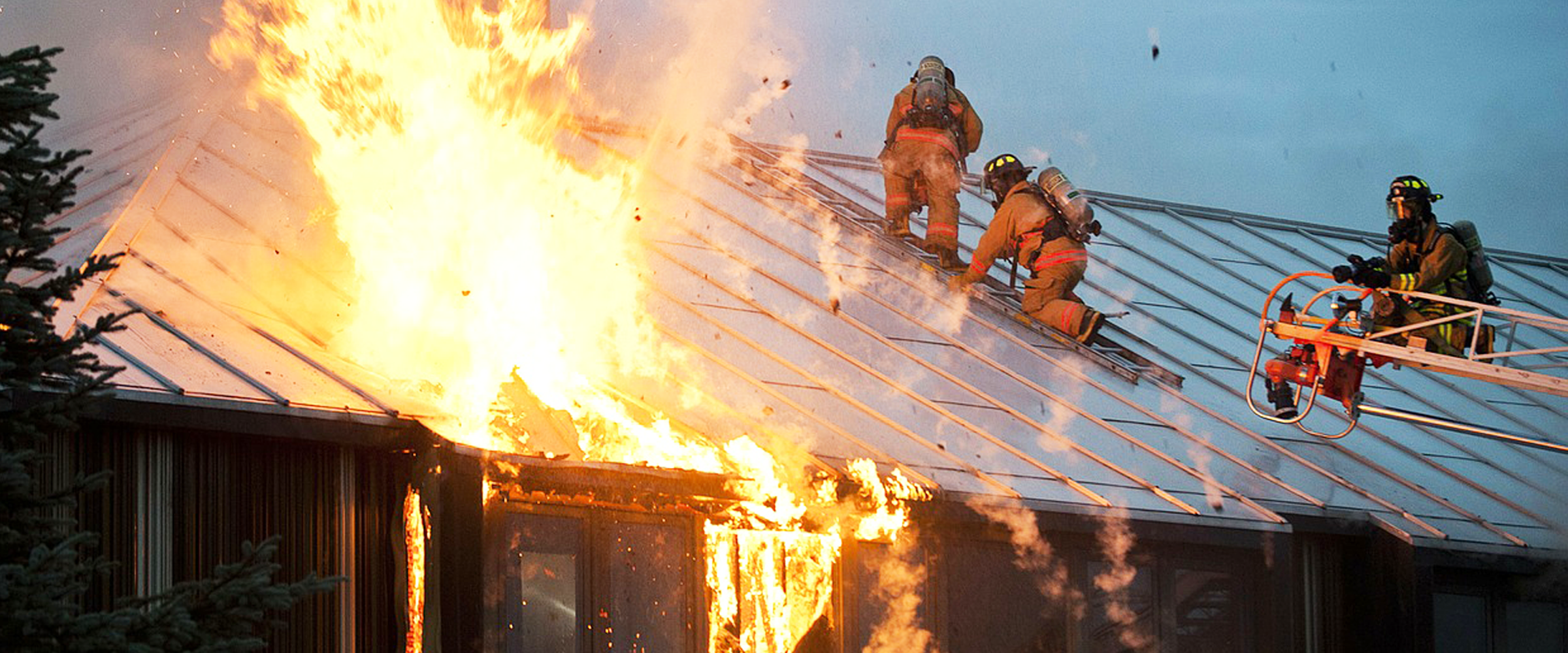 CA House Roof Fire Fighting